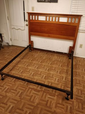 Queen/full wooden headboard with full box spring metal base in good condition, driveway pickup. for Sale in West Springfield, VA