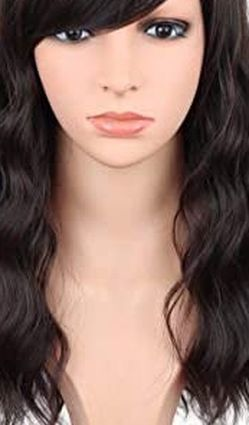 16 Inches Black Mix Brown Fashion Wavy Synthetic Hair Wigs for Sale in Fresno,  CA