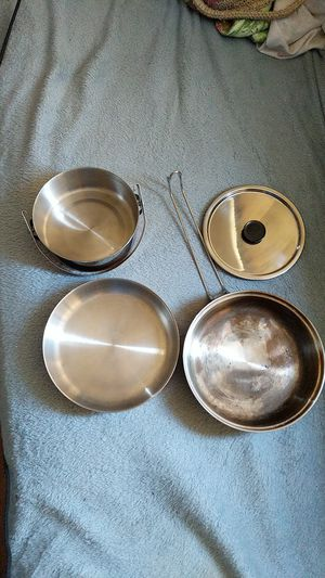 2 piece copper bottom camping cooking pots. for Sale in Wenatchee, WA