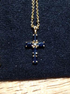 "Sapphire Cross on a 16"" gold chain for Sale in Opelousas, LA"