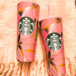 Pink And Gold Poinsettia Starbies tumblers ! for Sale in Miami, FL