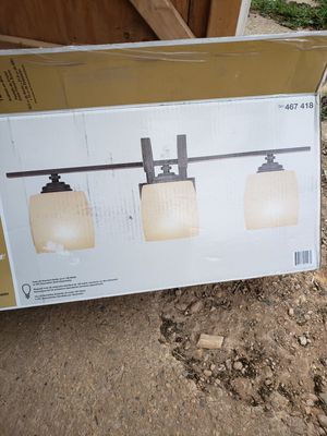 Hampton Bay 3-Light Bronze Vanity Light with Scavo Glass Shade for Sale in Baltimore, MD