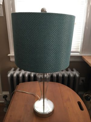 Glass lamp with teal shade for Sale in Wakefield, MA