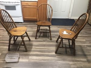 Ol too New oak wood antique chairs.Theirs only three.Which would work for someone. a total restoration.Finished with Esspresso for Sale in Lynchburg, VA