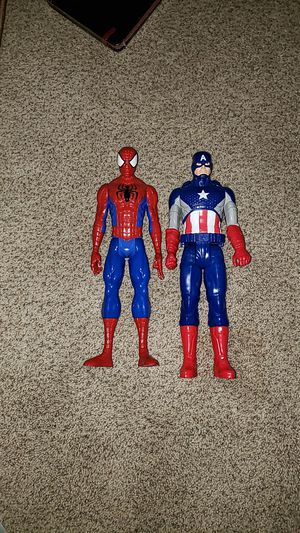 "Spiderman Captain America 12"" larger action figures Like New for Sale in Omaha, NE"