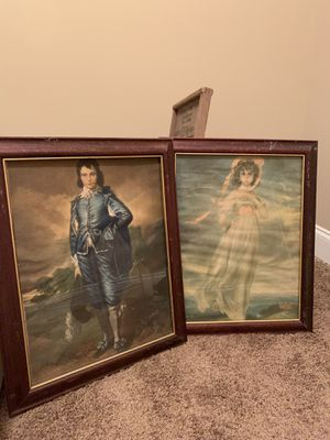 Old pinky girl & blue boy pic , white antique milk glass 4 pieces assorted & Fruit pic for Sale in Easley, SC
