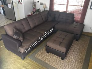 New chocolate fabric/leather sofa sectiobal with ottoman (reversible chaise) for Sale in Hemet, CA