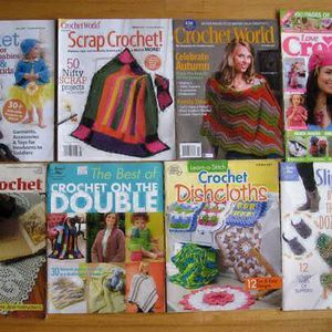 Lot of 8 Crochet magazines, Crochet Pattern Books on baby, afghans, on the double, slippers and dishcloths, and a UK magazine for Sale in Anderson Island, WA