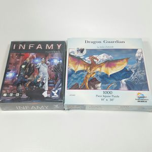 ** board game puzzle bundle ** Infamy mercury games dragon guardian John Zeleznik sunsout collectible for Sale in Dallas, TX
