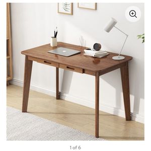 Modern Home Office Desk Computer Desk with 2 Drawer, Elegant Writing Table Work Station with Solid Wood Legs (Walnut) for Sale in La Habra Heights, CA