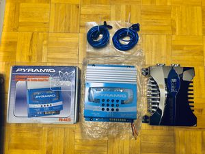 4 channel amplifier with a capacitor and RCA wires for Sale in Jersey City, NJ