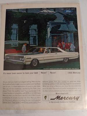 Vintage Car Ad Park Lane Mercury 1966  for Sale