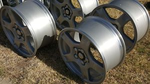 Corvette factory wheels, CLEAN NICE CONDITION rear wheel size 18 x 9.5, front wheels 17 x. 8.5 for Sale in Manteca, CA