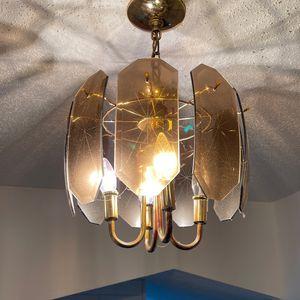 Vintage Amber Starbusrt Glass Design Gold Light Fixture for Sale in Waukegan, IL