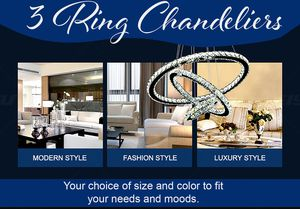 3 Ring Crystal Chandelier Diamond Design 3 Mood Settings for Sale in Las Vegas, NV