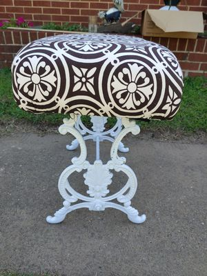 Antique Stool Chair Cottage Chic Bench Seat Ottomon Cast Iron Sewing Base Handmade Vintage for Sale in Lake Shore, MD