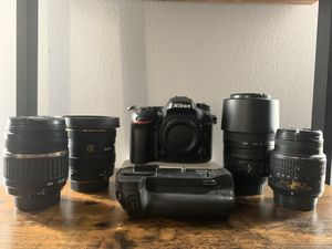 Nikon D7200 with charger grip and 4 lenses for Sale in Ashburn, VA