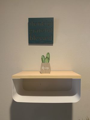 Wood wall panting and a small wood cactus and a wall shelf for Sale in Omaha, NE