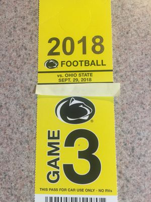 Psu vs Ohio state parking pass sept.29 for Sale in Mahanoy City, PA