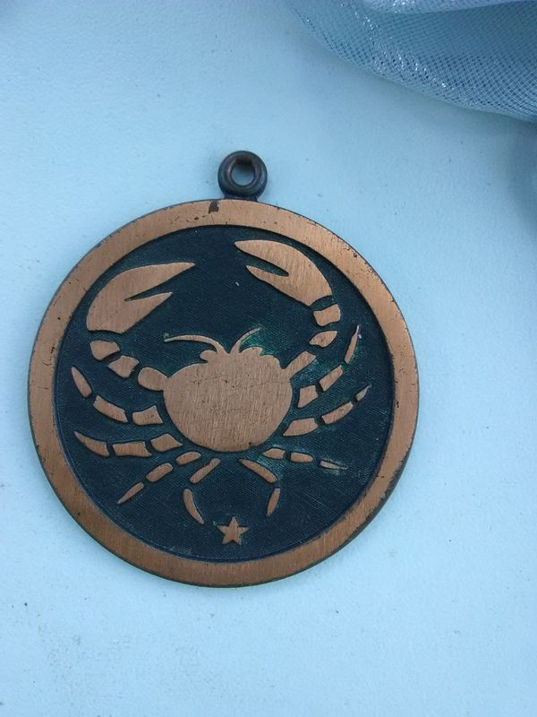 Solid Copper Zodiac Cancer Medallion