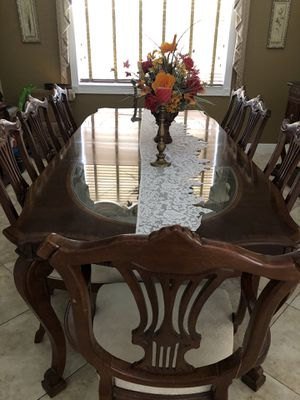 8 piece dining room set w/ China cabinet, hallway table with granite top, mirror from El Dorado for Sale in Miami, FL