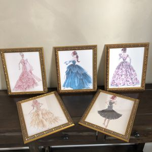 Vintage style Barbie pictures - SET of 5 for Sale in Fresno, CA