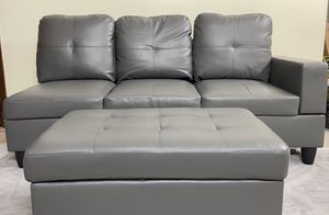 Lifestyle Furniture right Facing Sectional Sofa with Ottoman Faux Leather. No Chaise for Sale in UPPER ARLNGTN, OH