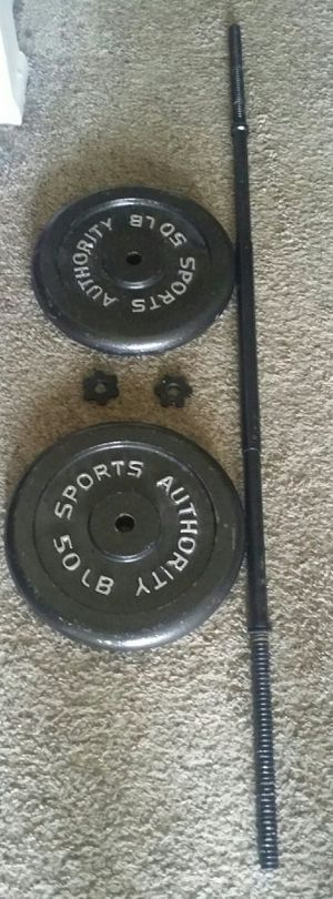 Weights iron 100lbs with 5 foot straight bar. 2x50lb weight plates for Sale in Deerfield Beach, FL