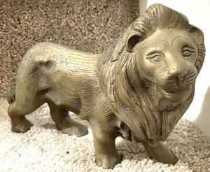 Vintage Lion Shape Handmade Brass Statue Wild Animal Figurine Fengshui Sculpture Door Stopper House Decor for Sale in Chapel Hill, NC