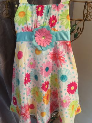 Little girls cotton Flowered dress white with Pink orange and blue size 3/4 for Sale in Northfield, OH