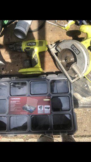 Ryobi drill and ryobi circular saw + Husky interlocking organizer all in great condition for Sale in North Versailles, PA