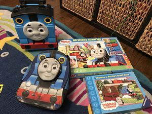 Thomas the train 5 pieces game ,puzzles , lunch bag , take n play tote and back back for Sale in Morton Grove, IL