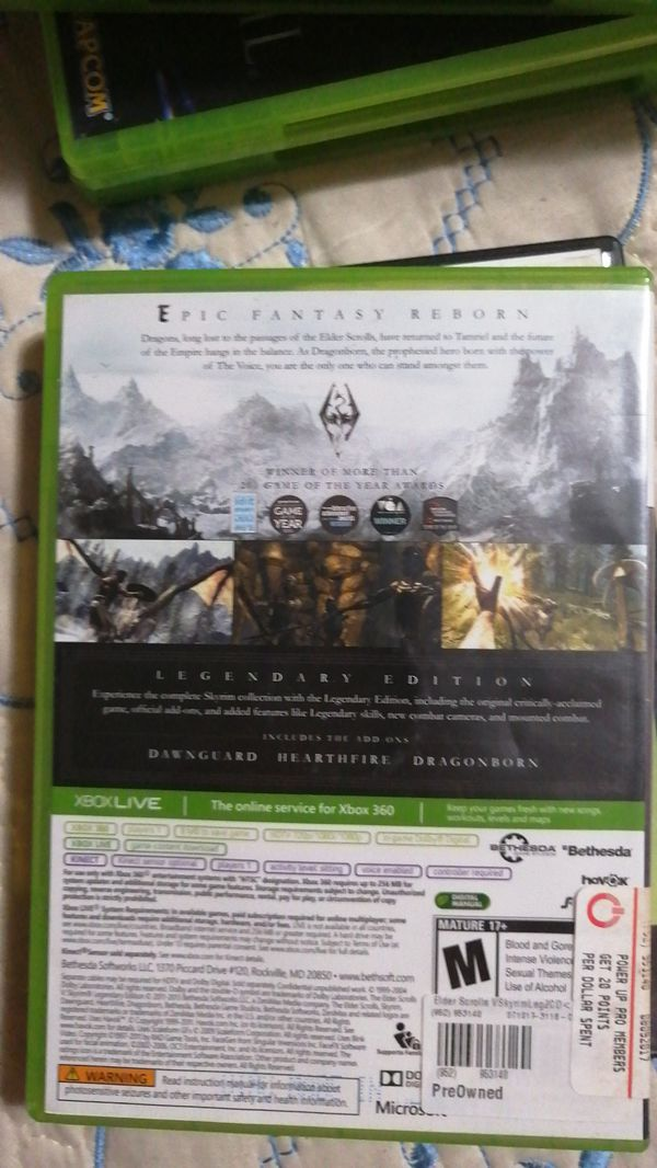 Pre-owned XBOX360 Elder Scrolls V Skyrim Legendary Edition