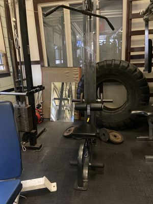 Gym equipment, Olympic free weights, cable crossover and PowerTec lat pull down for Sale in Chicago, IL