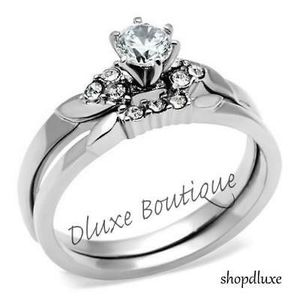 Beautiful Round Cut Stainless Steel AAA CZ Wedding Ring Band Set for Sale in Los Angeles, CA