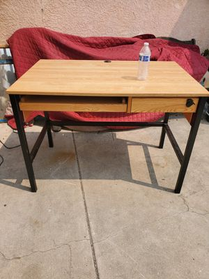 Solid sturdy metal frame desk with wood top for Sale in West Covina, CA