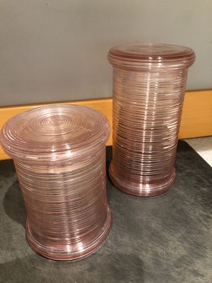 Vintage pink glass canisters for Sale in Kent, WA