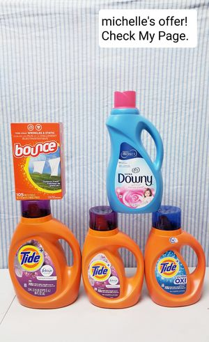 Tide w/ Febreeze,Tide w/Oxi, Downy, Bounce set for Sale in Temple Hills, MD