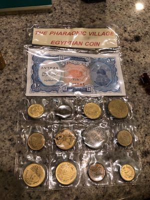 Arab republic of Egypt currency note and coins Pharaonic village Egyptian coin set for Sale in Wildomar, CA