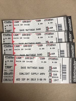 Dave Matthews band lawn seats for Sale in Vancouver, WA