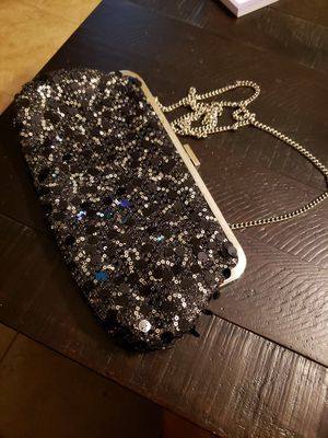 Black sequined snap clutch/purse with chain for Sale in Fort Smith, AR