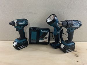 Set Makita with impact drill,hammer drill,fast charger and flashlight BRAND NEW for Sale in Dallas, TX