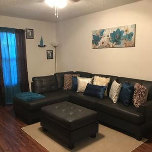 Brand New Espresso Faux Leather Sectional Sofa Couch + Ottoman (New in Boxes) for Sale in Silver Spring, MD