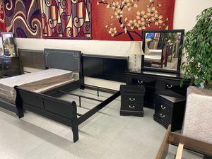 Furniture mattress- Queen bed frame dresser mirror nightstand for Sale in North Highlands, CA
