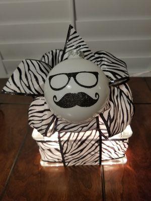 Black & White Mustache Glass Bock for Sale in Angier, NC