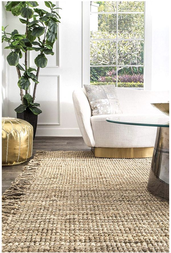 nuLOOM NCCL01-609 Collection Chunky Loop Jute Rug, 6' x 9', Natural