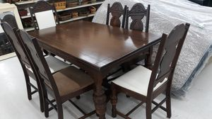 Solid Oak Early 1900s Table and 6 Chairs Dining Room Set for Sale in High Point, NC