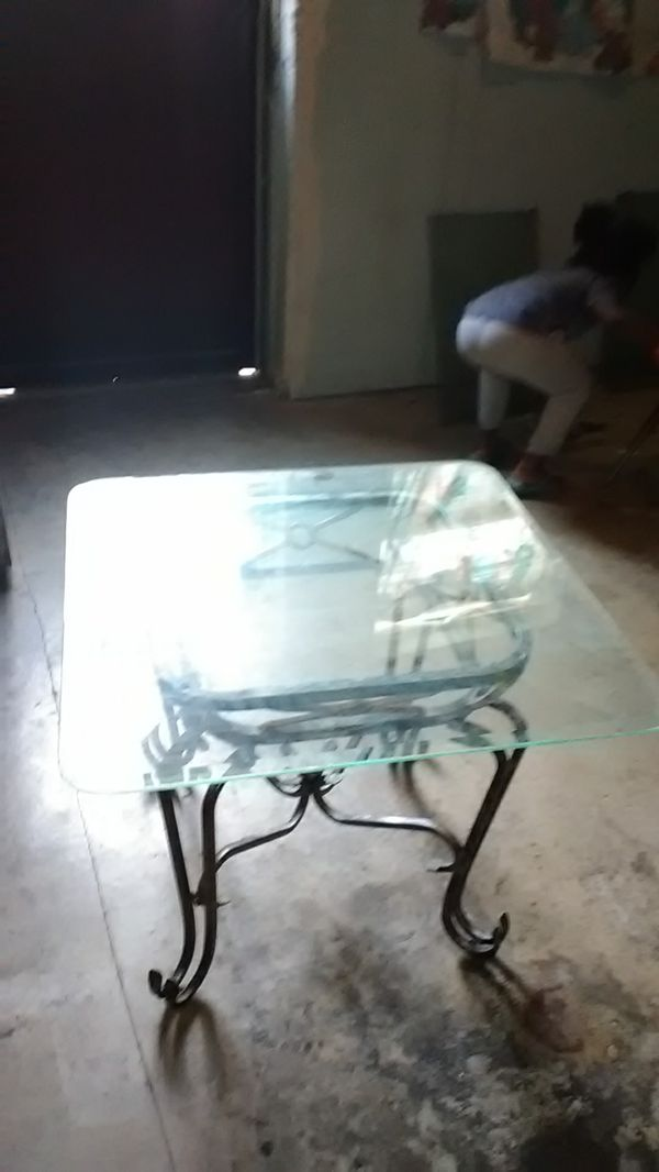 Antique Glass coffee and end table.