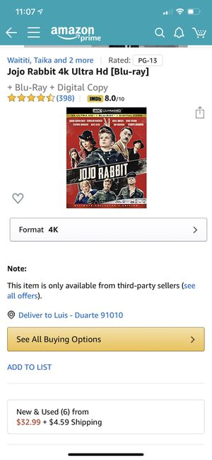Brand new Jojo Rabbit 4k UltraHD Blu-ray without Digital Code (sold out Amazon) for Sale in Bradbury, CA
