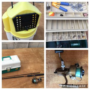 Fishing Lot: Tackle Box, Minnow Bucket, Vintage Bait Box, Vintage Reversible ZEBCO XRL-80 Surf Spinning Reel on a 7' Ugly Stick Spinning Rod. Could for Sale in Phoenix, AZ